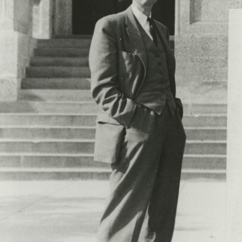 Dr. J. Doupe in front of Administration Building, Fort Garry Campus